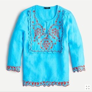 J. Crew 100% Linen Embroidered Tunic Top S